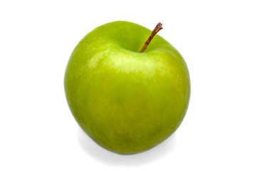 A large green fresh, bright green apple close-up on a white background. Isolated.