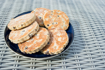 Welshcakes presented on a plate - also known as Bakestones