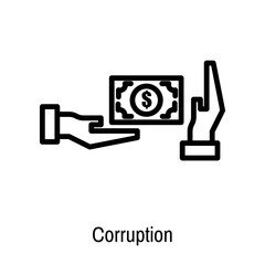 Corruption icon vector sign and symbol isolated on white background