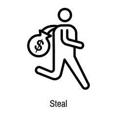 Steal icon vector sign and symbol isolated on white background