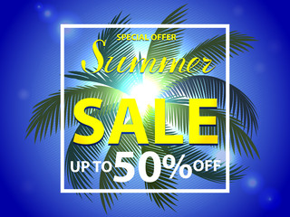 Discount palm summer sale template banner.