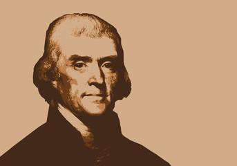 Thomas Jefferson - président des États Unis - portrait - personnage historique - américain Fototapete