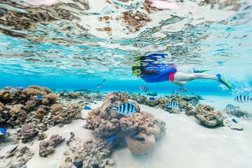 Fototapete - Woman snorkeling