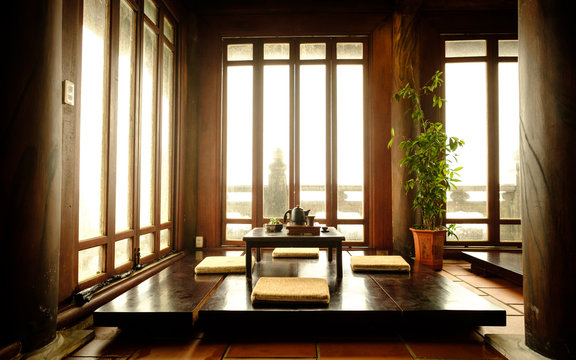 Traditional Japanese Tea Room view in Bana Hills, Danang Vietnam.