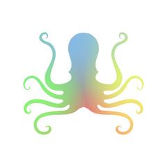 Octopus Icon Isolated. Stilized Logo Design. Sea Food Symbol.
