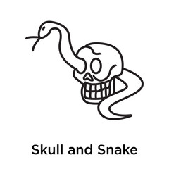 Skull and Snake icon vector sign and symbol isolated on white background, Skull and Snake logo concept