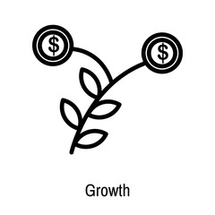 Growth icon vector sign and symbol isolated on white background