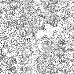 Abstract vector seamless pattern with ornamental curling figured lines. You can use any color of background