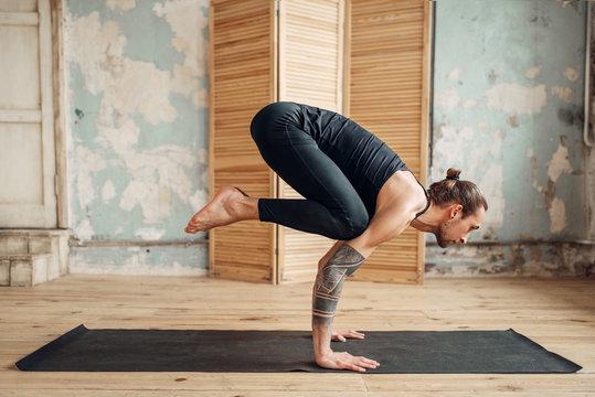 Yoga standing on hands, balance and press training