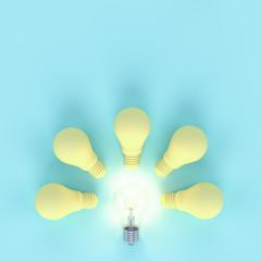 Light bulb pastel yellow minimal concept minimal concept
