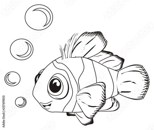 """fish, clownfish, clown fish, coloring, bubbles, striped ..."