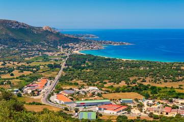 High angle view on the Village of Algajola, Corsica, France