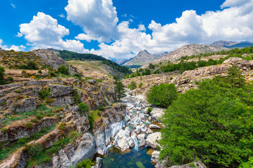 Stream and Mountain Range in Corsica France in Springtime