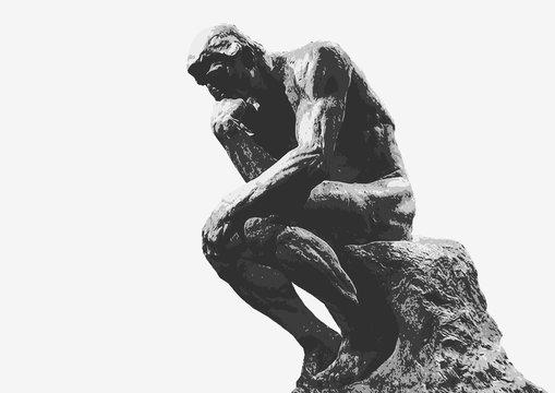 Penseur de Rodin - sculpture - penseur - symbole - concept - homme - création - créativité - nu