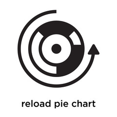 reload pie chart icon vector sign and symbol isolated on white background, reload pie chart logo concept