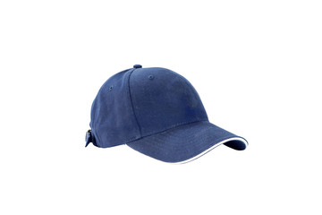 Blue fashion and baseball cap isolated on white background, with clipping path.