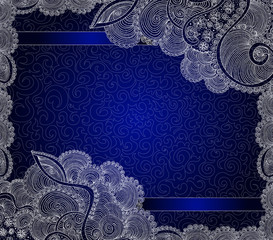 Beautiful blue frame with decorative handwritten lacy ornamental patterns