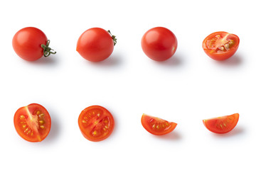 Set of different cherry tomatoes isolated with shadow on white background