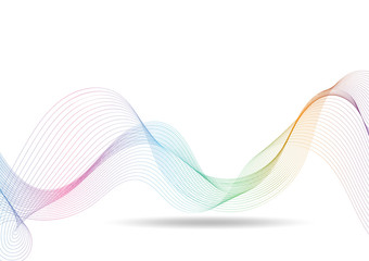 Vector rainbow waves lines gradient colorful on white background
