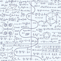 Math educational vector seamless pattern with formulas, equations, calculations, plots and figures,  handwritten with blue pen on grid copybook sheet of paper