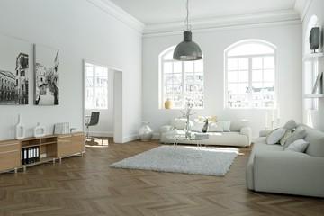 modern bright skandinavian interior design living room
