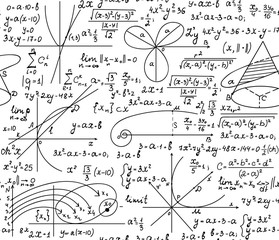 Math scientific vector seamless pattern with formulas, calculations and geometrical figures handwritten  on a white sheet of paper. You can use any color of background