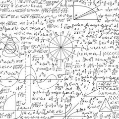 Mathematical scientific vector seamless pattern with handwritten formulas, calculations and   geometrical figures