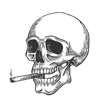 Skull smoking cigarette engraving vector