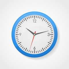 Blue wall office clock isolated on white background. Vector illustration.