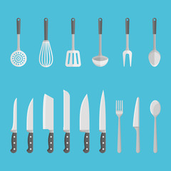 Set of kitchen utensils, tools isolated on blue background. Knives, spoons, forks, spatula and etc. Flat style vector illustration.