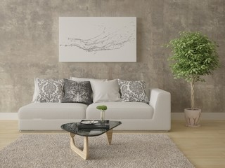 Mock up a bright living room with a compact comfortable sofa and hipster background.