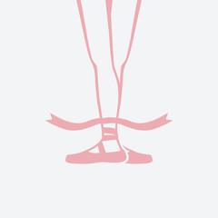 ballerina feet in pointe shoes. third ballet position