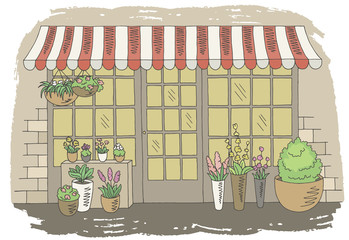 Flower shop store graphic color sketch exterior illustration vector