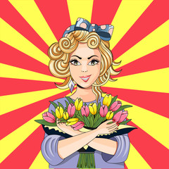 Beautiful card with a girl and a bouquet of tulips vector illustration