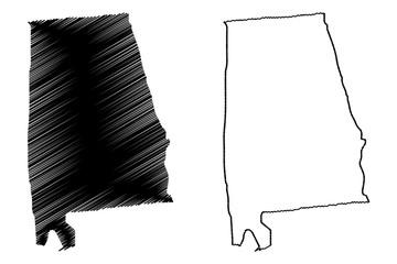 Alabama map vector illustration, scribble sketch Alabama map