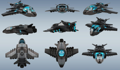 Futuristic spacecraft collection isolated on grey background 3D rendering