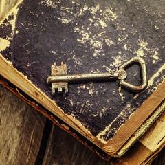 old keys on a vintage book