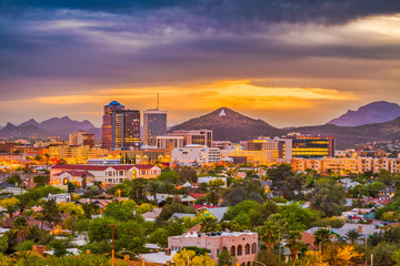 Fototapete - Tucson, Arizona, USA Skyline