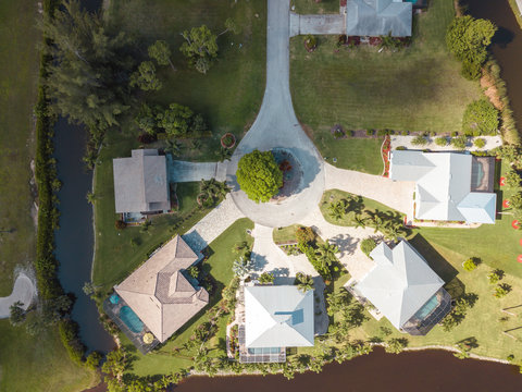 aerial houses residential florida lake