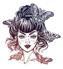 Woman portrait with vintage bun hair made in style, pretty girl with moth and butterefly.