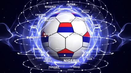 Soccer Ball and RUSSIA Flag in Blue Abstract Particles Ring, Background