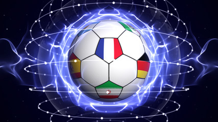 WORLD CUP Text and Soccer Ball and World Cup Team Flags in Blue Abstract Particles Ring, Background