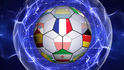 Soccer Ball and World Cup Team Flags in Blue Abstract Particles Ring, Background