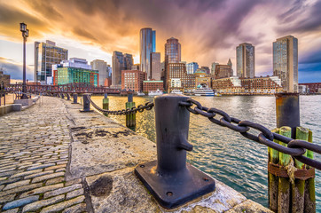 Boston, Massachusetts, USA Harbor and Skyline Wall mural