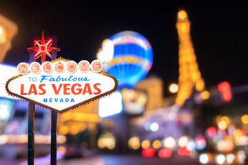 Canvas Prints Las Vegas Famous Las Vegas sign with blur cityscape