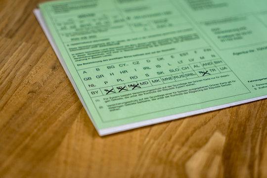 Grüne Versicherungskarte Kfz Versicherung