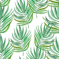 Watercolor leaves of fern and palm, seamless pattern for fabric and other printed products Watercolor leaves of fern and palm, seamless pattern for fabric and other printed productsof tropical themes.