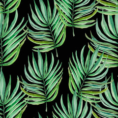 Watercolor leaves of fern and palm, seamless pattern for fabric and other printed products of tropical themes.