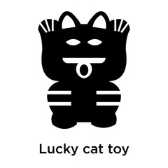 Lucky cat toy icon vector sign and symbol isolated on white background, Lucky cat toy logo concept