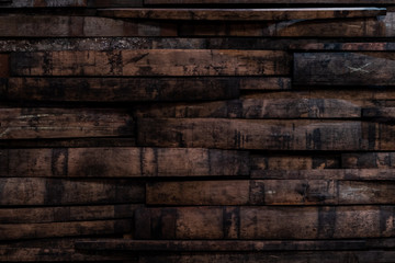 Fototapete - Used Bourbon Barrel Staves On Wall